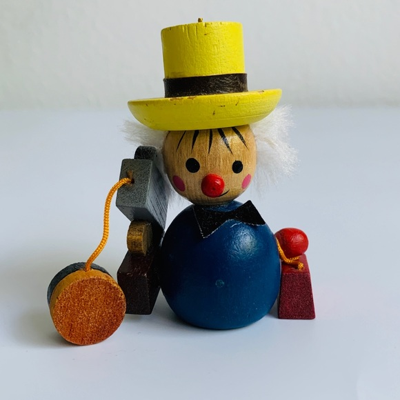 Vintage Other - Vintage Steinbach Wooden Christmas Ornament Clown